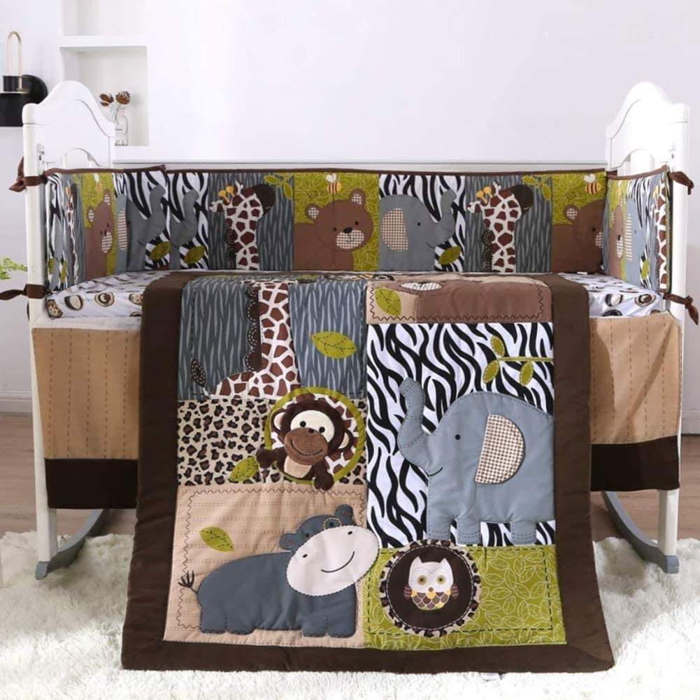 Brown Woodland Animals 7 Piece Crib Bedding Set Neutral baby Nursery Crib Set Including quilt 4 Bumper bedskirt fitted sheet