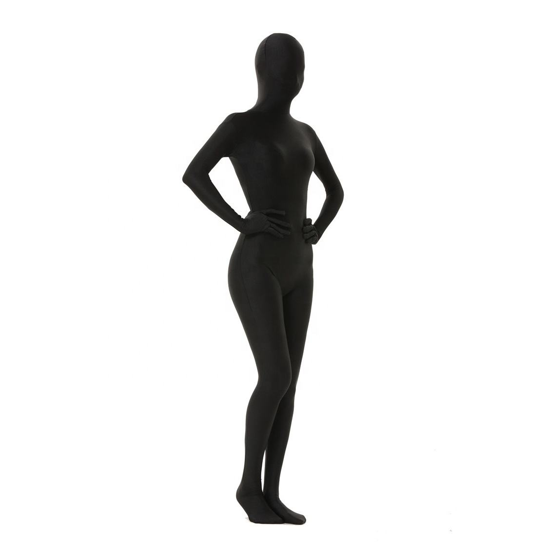 In-stock Women Men Unisex Party Cosplay Black Spandex Whole Bodysuits Full Body Suit Halloween Costume Zentai Catsuit For Sale