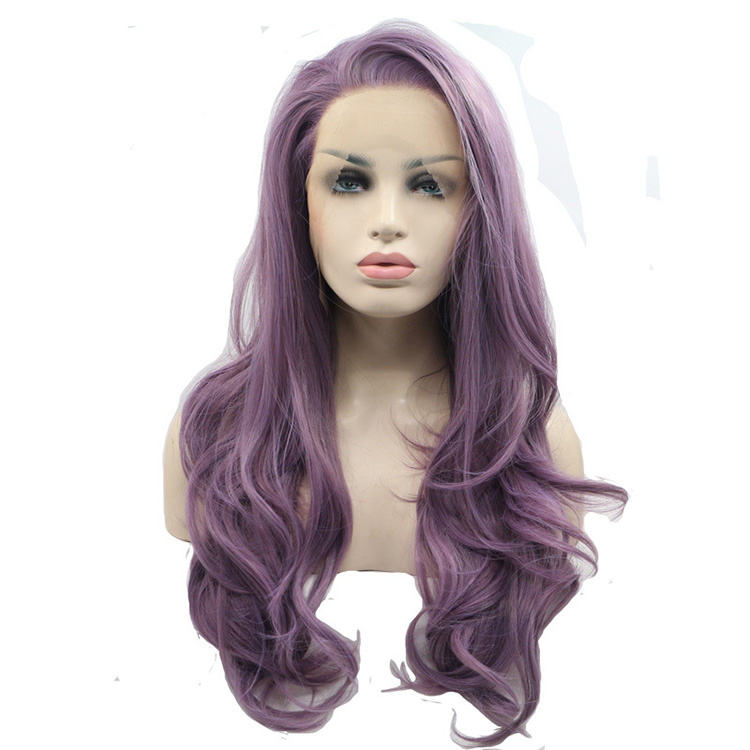 Whole Sale Hot Selling Women Hair Dama Perruque Synthetic Purple Lace Front Wig