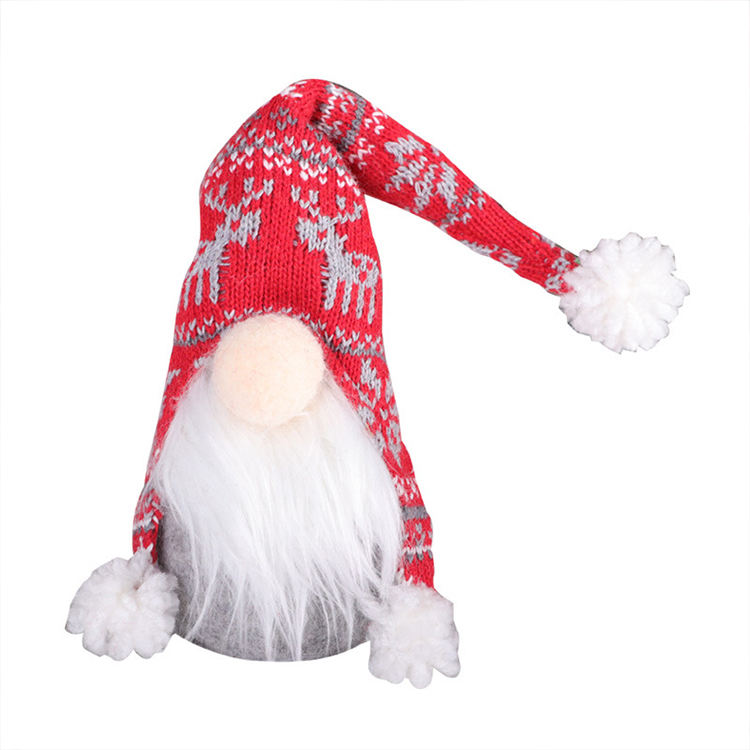 AA83 Felt Christmas Pendant Nordic Land God Doll Christmas Decoration Ornaments Knitted Faceless Gnome Santa Doll
