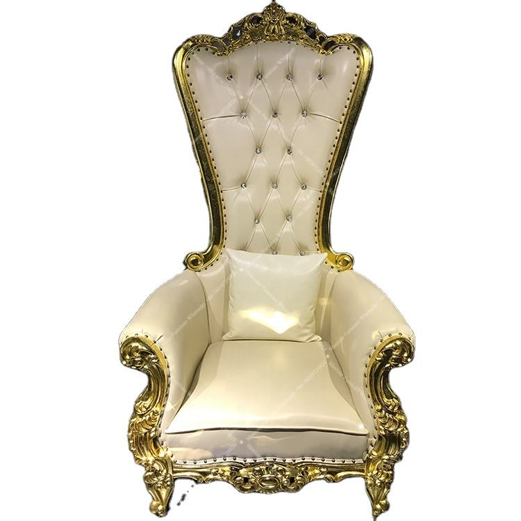5 star hotel Luxury style wooden king throne high back sofa chair for wedding sell by factory