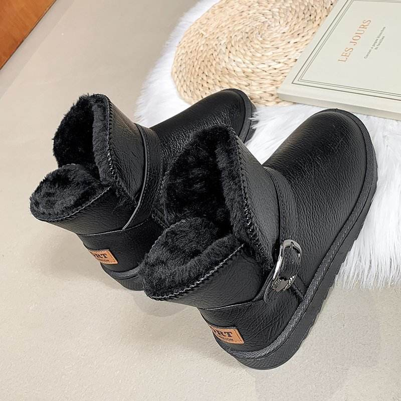 Trending Women Boots Ladies Chunky Polyester Leather Ankle Boots
