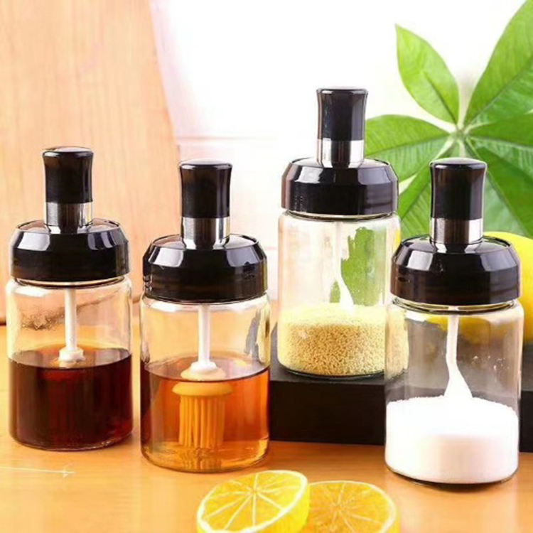 Wholesale 300ml Spice Seasoning Glass Jars Glass Cooking Oil Jar with Oil Brush Thick Glass Ketchup Jar Dispenser with Spoon