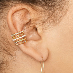 Ins popular multilayer pearl clip on earrings gold star cartilage earring clips for girls woman