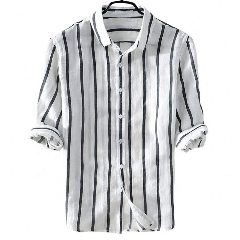 High quality custom cool breathable fancy striped half sleeve men casual linen hemp shirts for summer