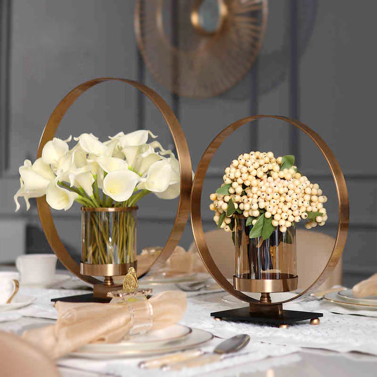 Decorative round metal flower wedding vase with candle holder glass for table centerpieces wedding decoration