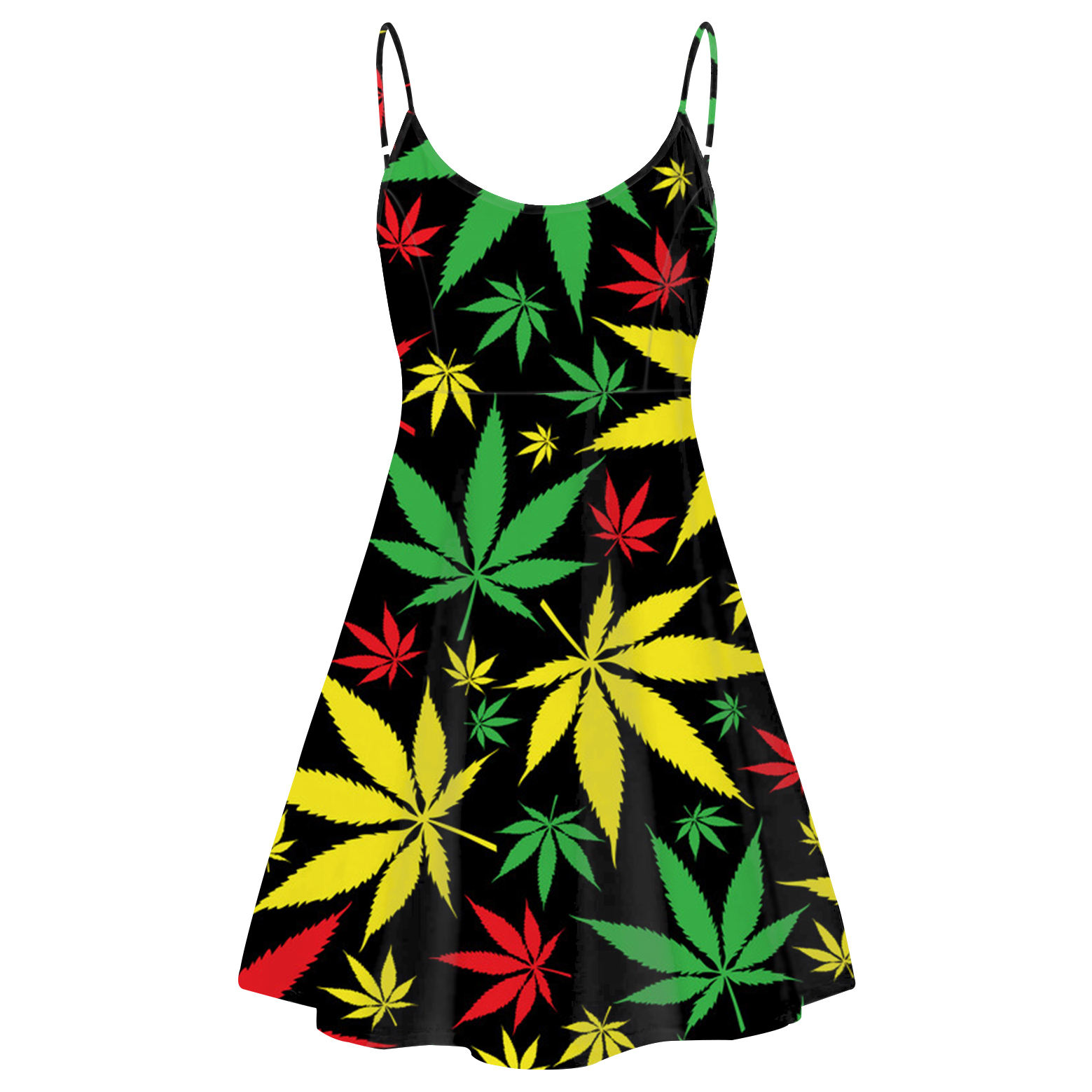 Low MOQ Women Slip Dresses Wholesale Colorful Hemp Leaf All Over Pattern Clothes Lady Sexy Backless Club Party Sling Mini Dress