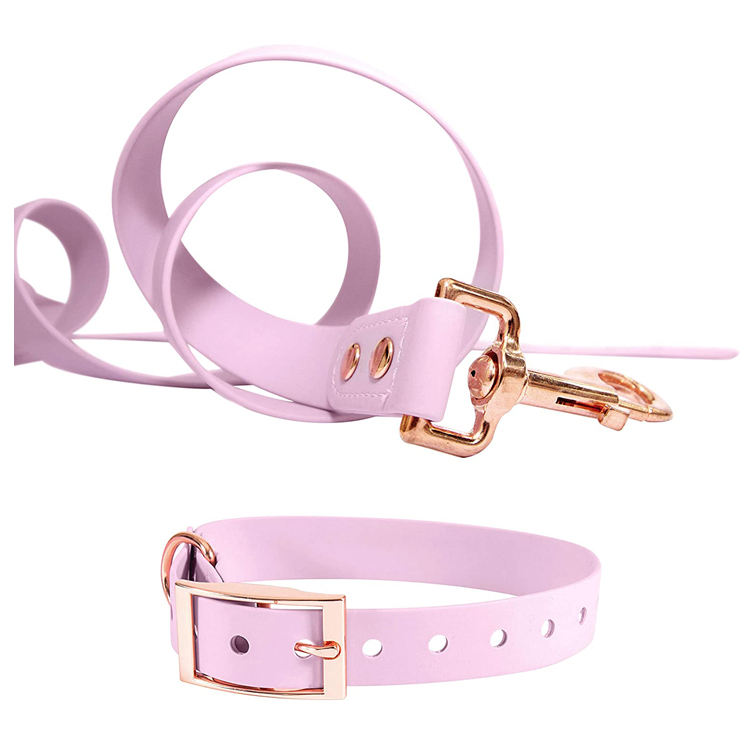 Soft PVC coated Nylon Dog Collar Leash Set Comfortable Dog Leash Handle Water Resistant Dog Collar