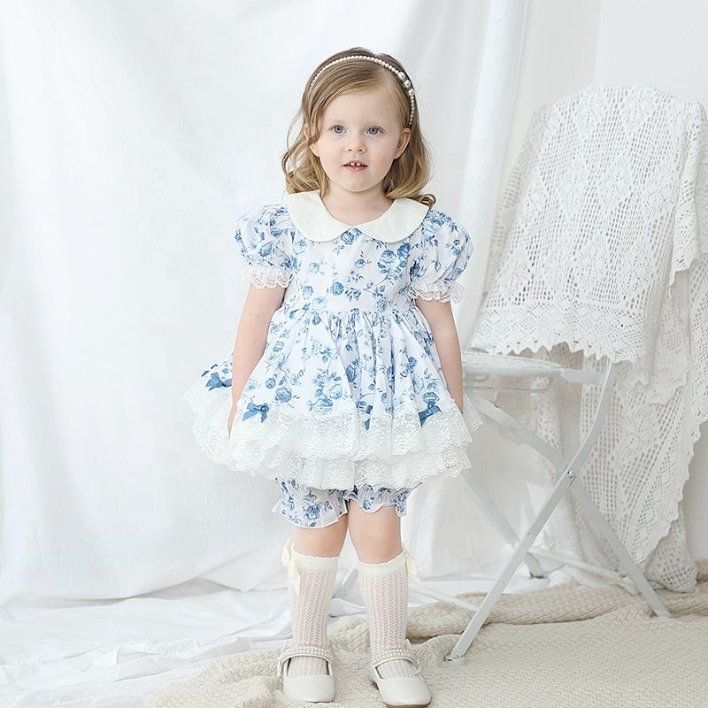 Lolita short sleeve floral toddler tutu party summer baby girls dress with bloomer