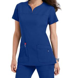 latest style Women v neck nurses dress uniform/scrub uniform with practical cargo pocket