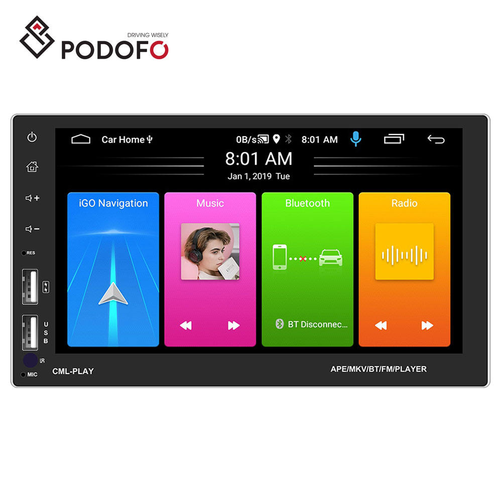 "Podofo 2 Din Android Car Radio Stereo 9.1 Autoradio 7"" Split Screen GPS WIFI BT FM Phone Link USB For Toyota/VW/Ford"