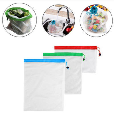 9PCS Eco Friendly Recycled Organic Hemp Cotton Net Mesh Reusable Produce Bags for Fruit Vegetable