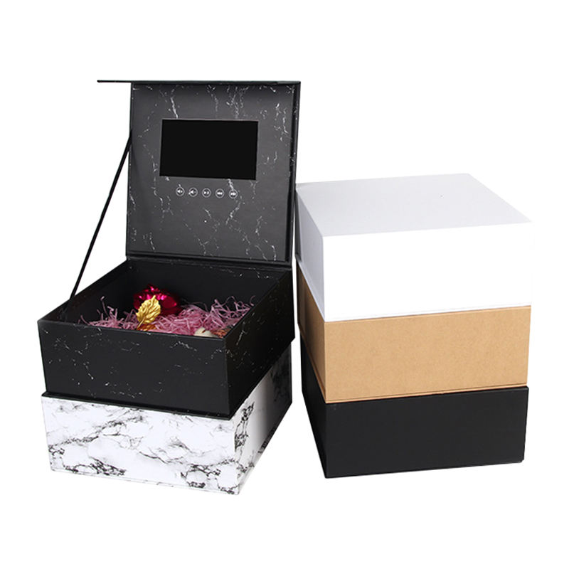 7 inch hardcover video gift box with lcd screen packaging Mobile phone Valentine's day flower jewelry hard paper box