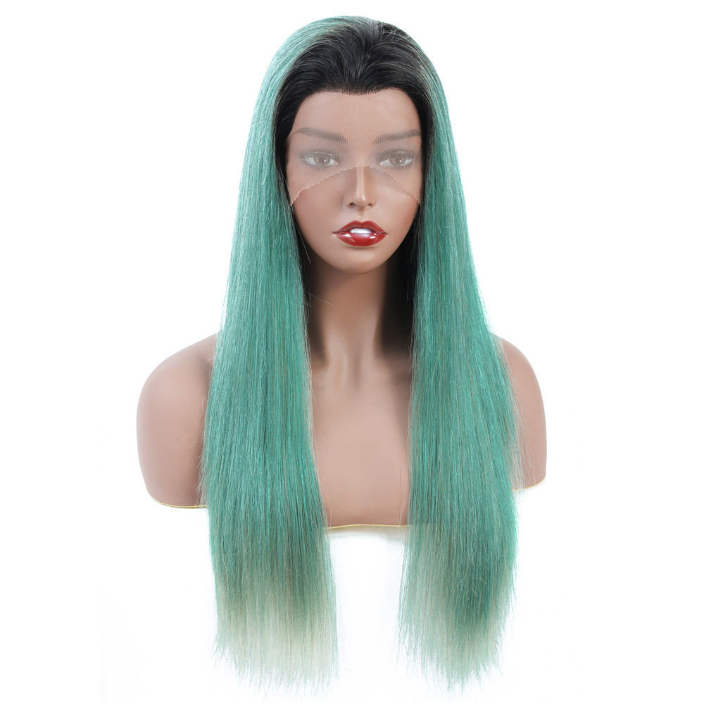 Cyan Lace Wig Pre Plucked Peruvian Ombre Green Long Lace Front Straight Wigs For Women Non Remy Human Hair Wigs