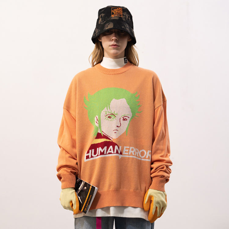 Fancy Street Style Korean Jacquard Baggie Cartoon Warm Plus Size O Neck Maxi Jumpers Pullover Knitted Sweater For Woman