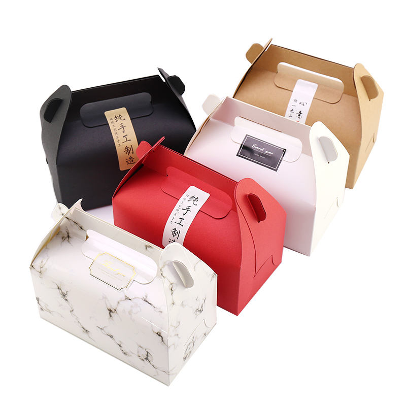 Baking box kraft paper portable takeaway fried chicken West Point mousse cake Swiss roll box dessert package box