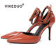 Vikeduo Hand Made Artist Displays Female Fashion Patent Leather High Heel Sandals For Women And Ladies Shoes