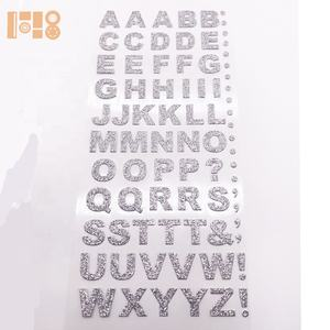 crystal glitter silver custom mini stickers adhesive alphabet rhinestone letters sticker