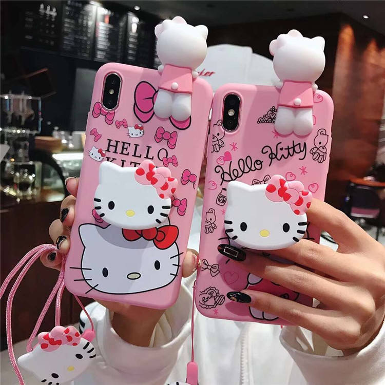 KT Cat 3D Cute Doll Strap Pendent kitty Soft Case for iPhone 11 Pro Max 11Pro 11 7 8Plus X Xs Max