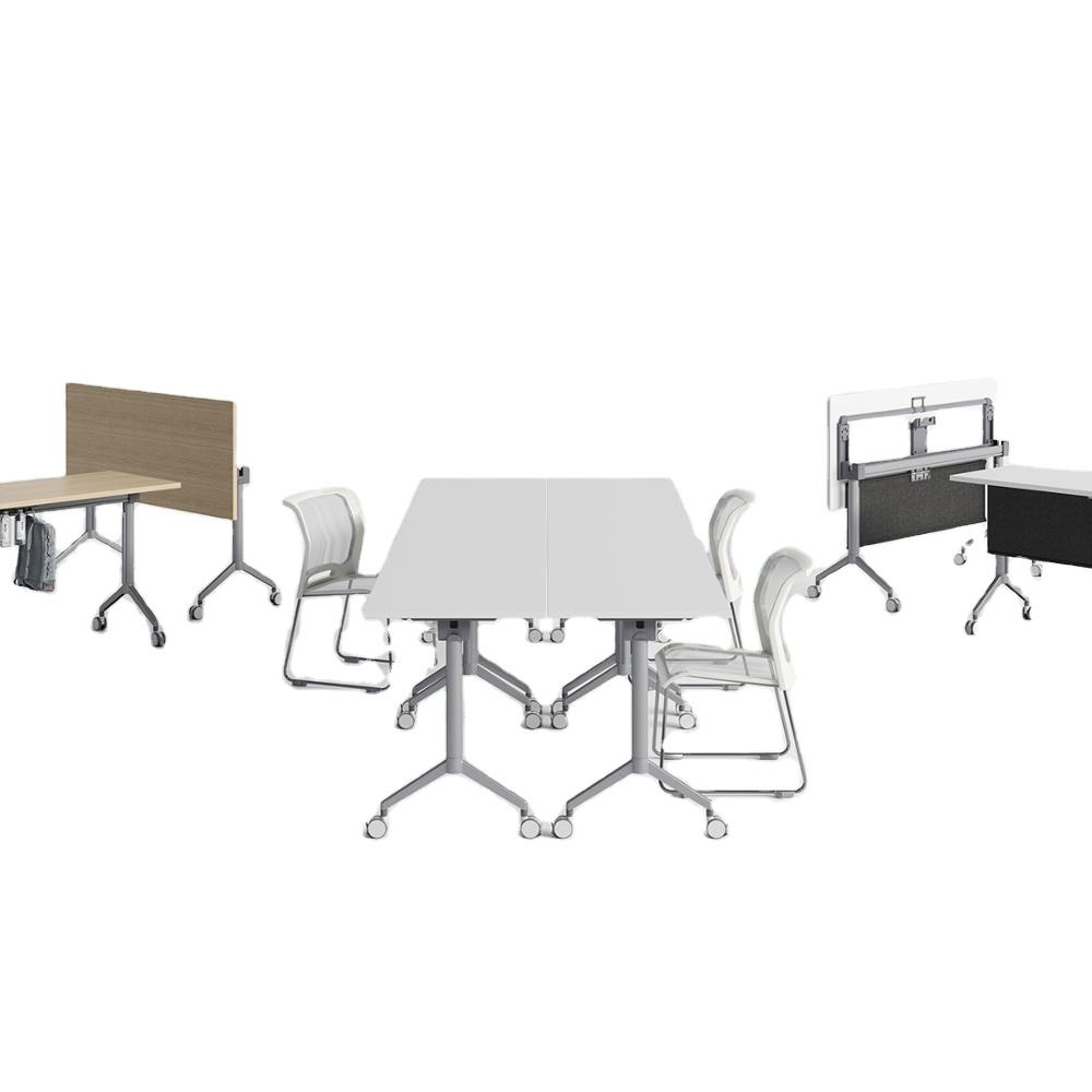 Tall 750mm Office Conference Table Folding Table With Wheels Or Office Training Table With Steel Modesty Panel