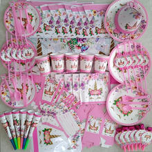 Girl Birthday Party Pink Unicorn Paper Plate Cup Napkin Disposable Tableware Sets Baby Shower Birthday Party Supplies