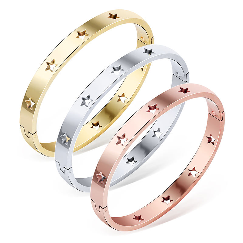 Loftily Jewelry Fashion Women Ladies Bracelets & Bangles Stainless Steel Stars Bangle Bracelet