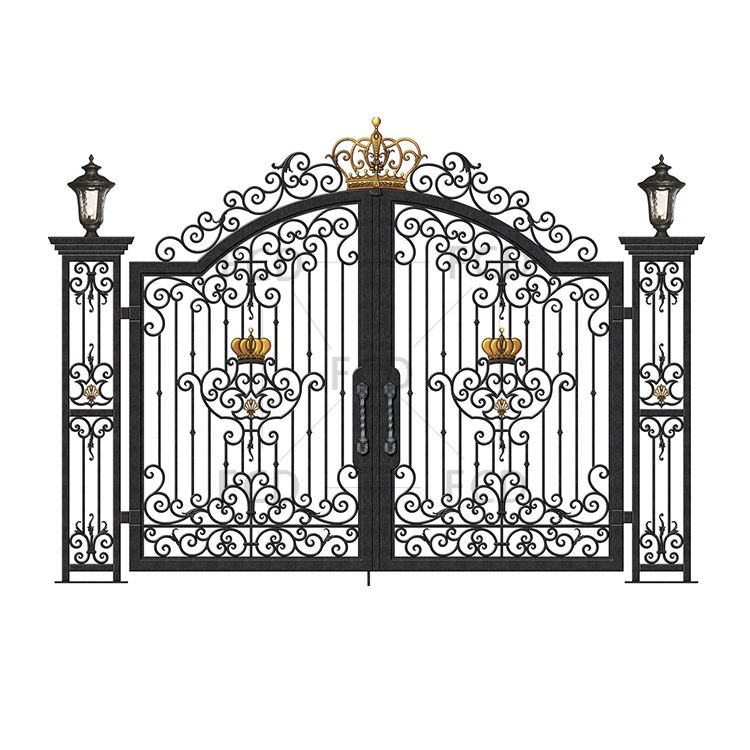 CAD 3D OEM ODM Design Customizable Security Villa Garden Luxury Elegant Decorative House Entrance Wrought Iron Door Gate