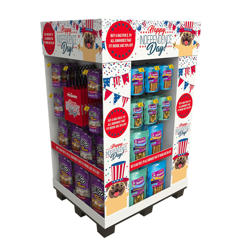 Cardboard Display Floor Standing Holiday Promotional Gifts Products Cardboard Pallet Display Stand For Candy
