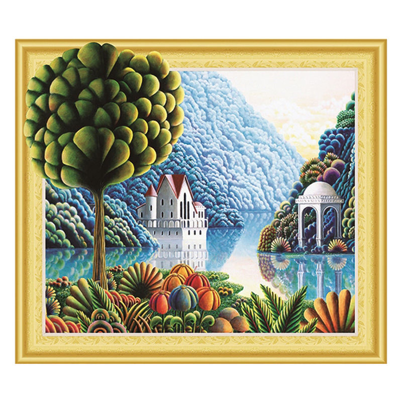 Wholesale Factory Needlework Diy Houses And Trees On The Lake In The Mountains Special Shaped Diamond Painting Mosaic Gift