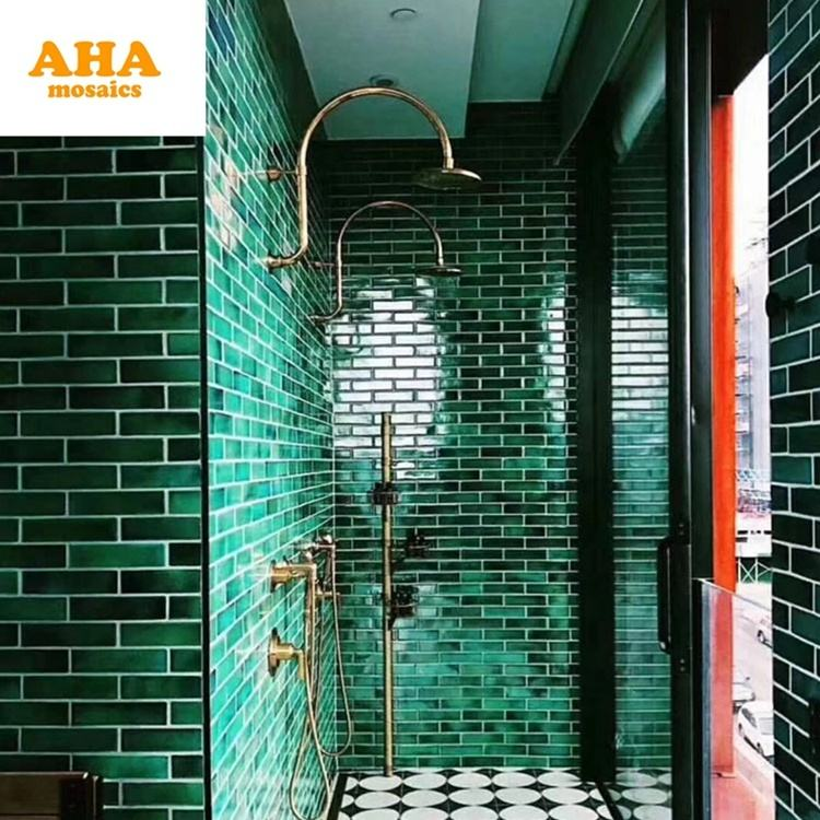 High quality Wall Decorative Backsplash Green Tile Long strip Mosaic Tile