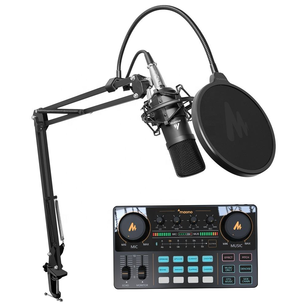MAONO Audio Interface Sound Card with XLR Podcast Microphone FOR Live Sound Recording Microphone kit