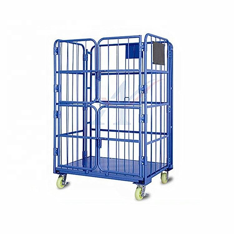 1100 *800*1700mm folding steel roll container cage with 2 doors