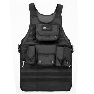 2 Large Pouches and 3 Smaller Pouches Tactical Molle Chef Apron with Adjustable Side Strap for the Perfect Fit