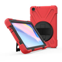 Heavy duty rugged silicone bumper kids smart rotating kickstand hand strap tablet case for Samsung Tab A 8 inch P200 P205 shell