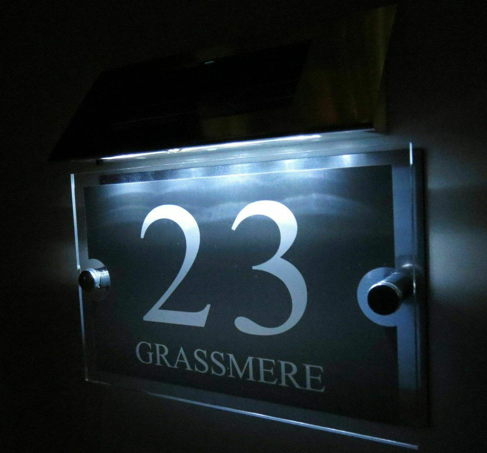 Solar Lamp Address House Number Light And Street Name Sign Plaques Led Door Number Sign With Light