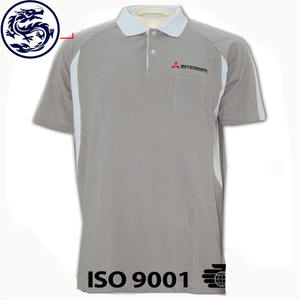 Custom Wholesale Men Grey Plain Short Sleeve Polo Shirts Polyester Spandex Golf Polo Shirts With Pockets OEM