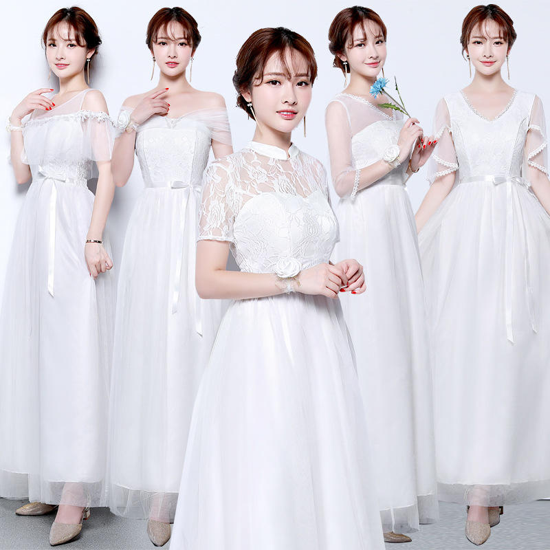 Bride guests Beautiful Short Sleeve Bridesmaid dresses prom 5 styles Wedding party dress