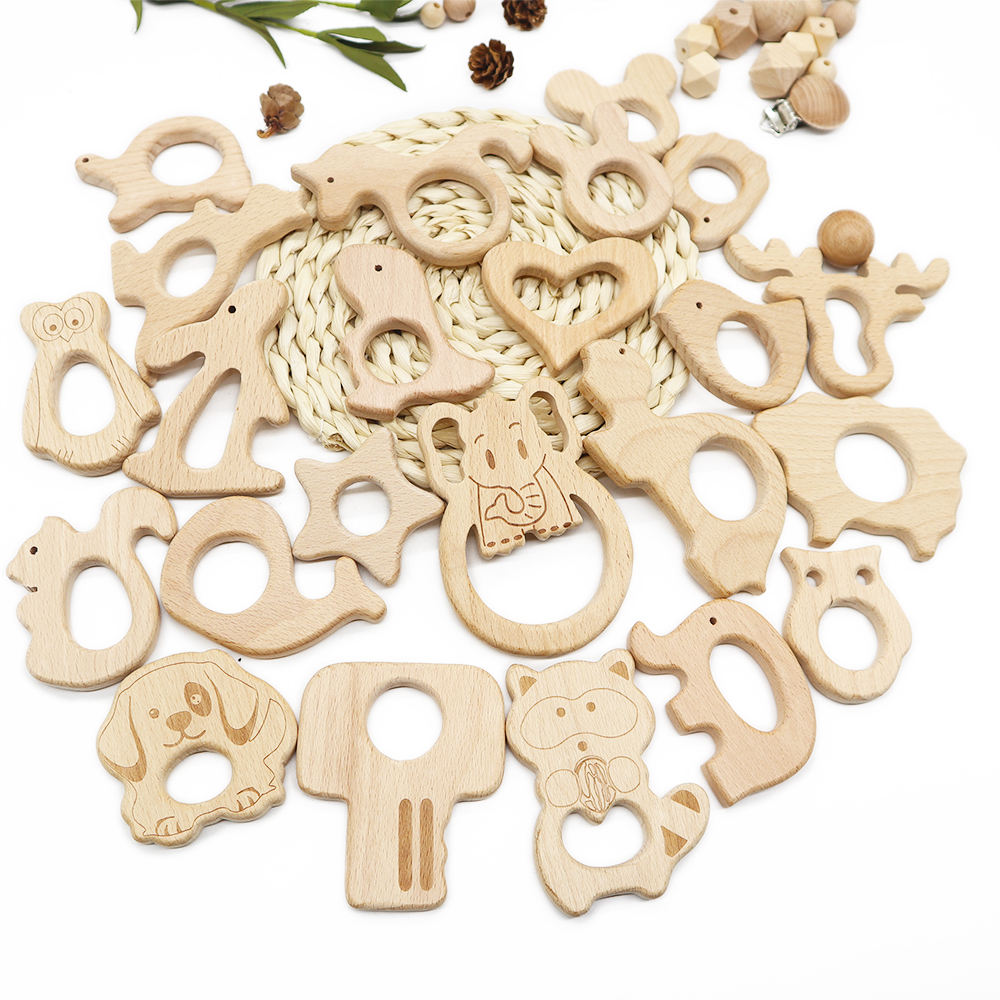 Wholesale Autism Chew Beech Natural Chewable Wood Ring Animal Wooden Baby Teether Toy