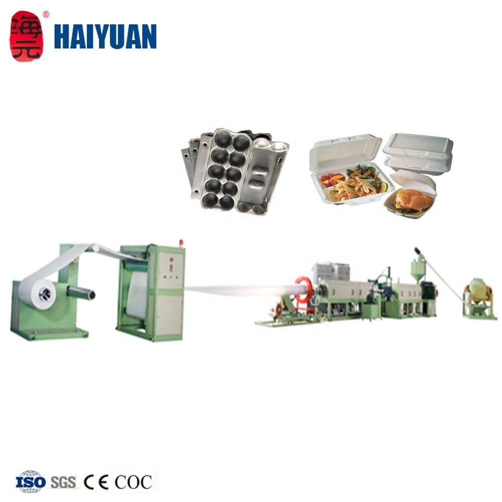 Haiyuan polystyrene foam sheet extrusion machine for making polystyrene foam sheets in rolls