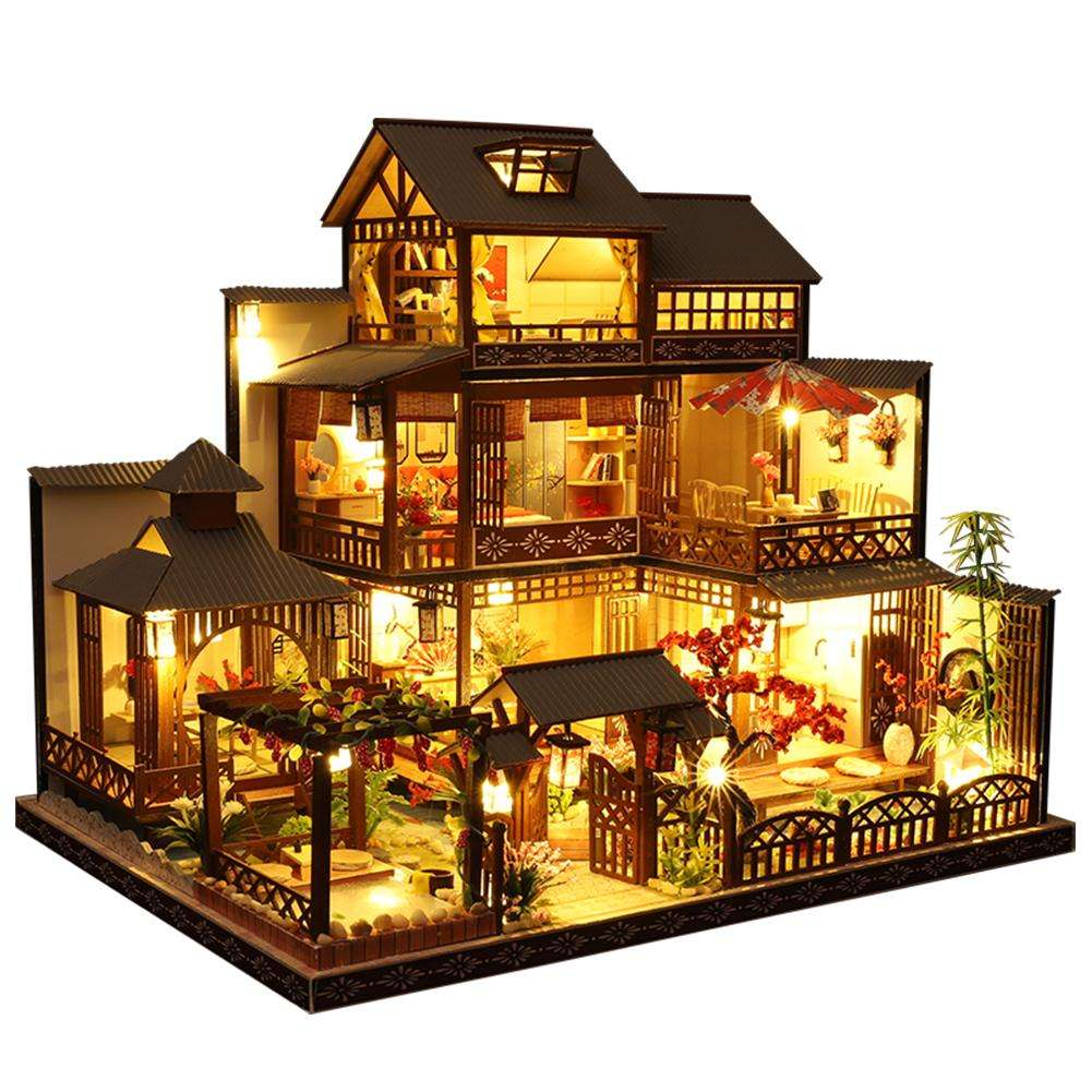 DIY Dollhouse Kit Large Villa Miniature Wooden Cabin Handmade Doll House Building Toys For Girls Christmas Birthday Gift