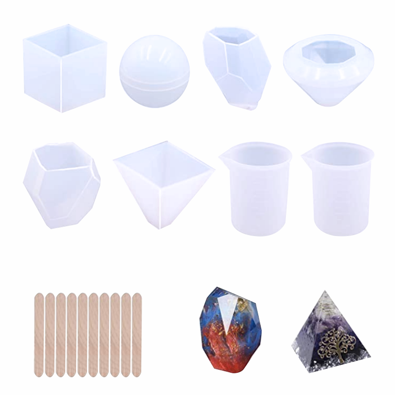 18Pcs Silicone Resin Molds Tools Set Includes 6 Resin Casting Molds Paperweight Soap Candle for DIY Home Decoration