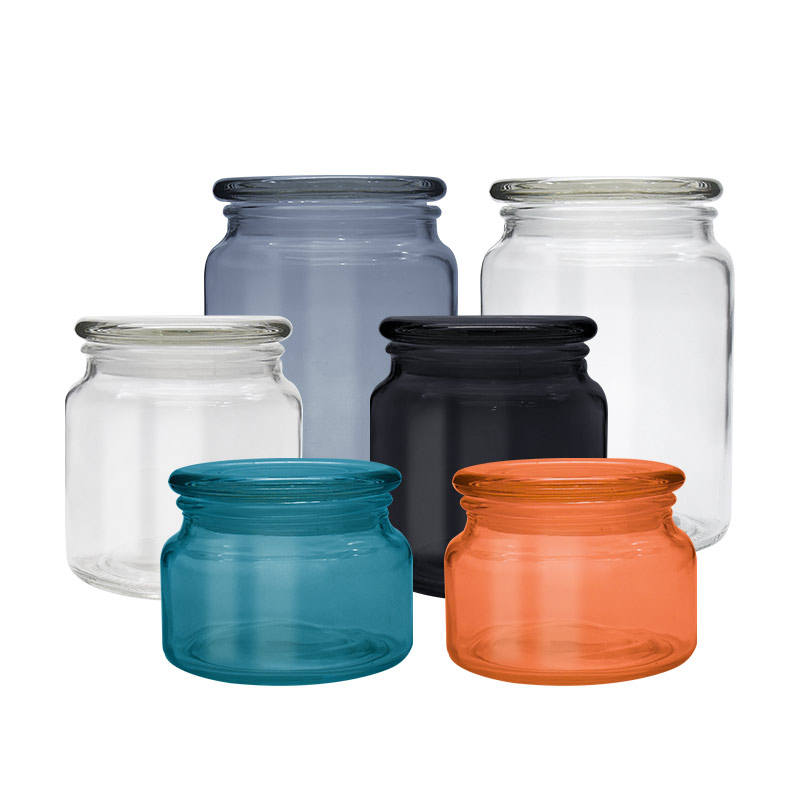 Hot sale glass cookie jar flower tea container candy tin cans with glass lid