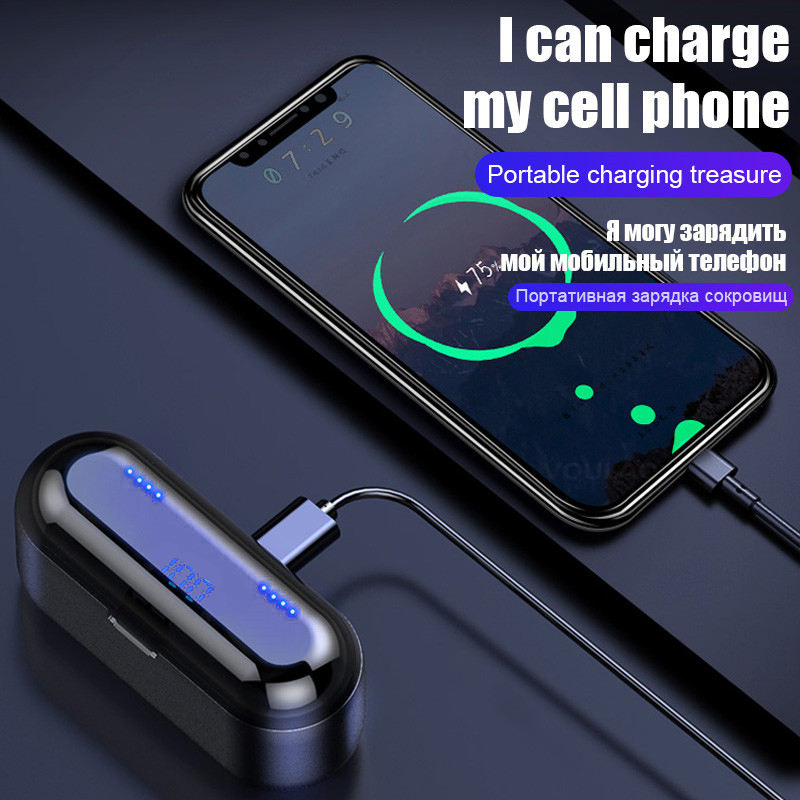 2020 New trend products hot selling fingerprint touch control Top F9 earphones with power bank