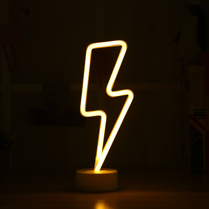 Party Decor Lightning Bolt Neon led Battery Table Neon Light Sign Powered Luminous Signs Art Light for Girls Gift