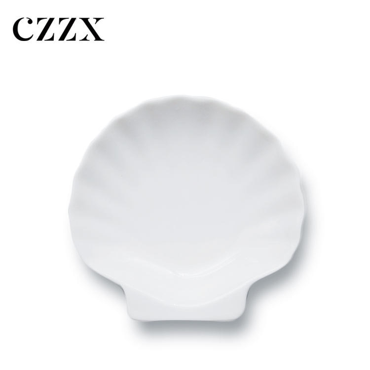 China factory royal nice design porcelain scallop shell shaped snack plate dish with good quality