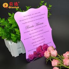 2019 Top Grade Luxury Custom Laser Cut Acrylic Wedding Invitation Card
