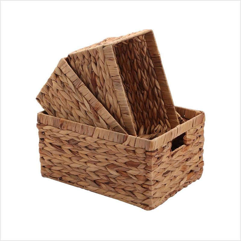 Woven Natural Water hyacinth Box Storage Basket with Handle
