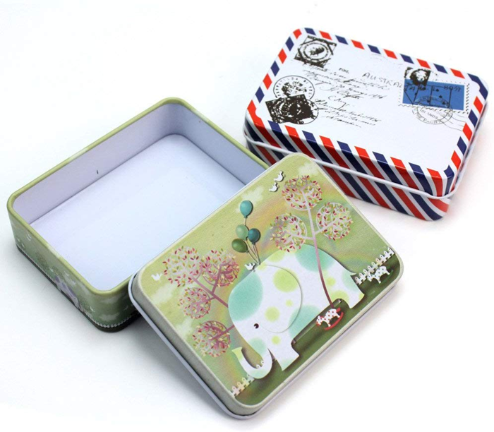 Rectangular shaped business card packaging tins, postcard collection tin box, metal tins for game card