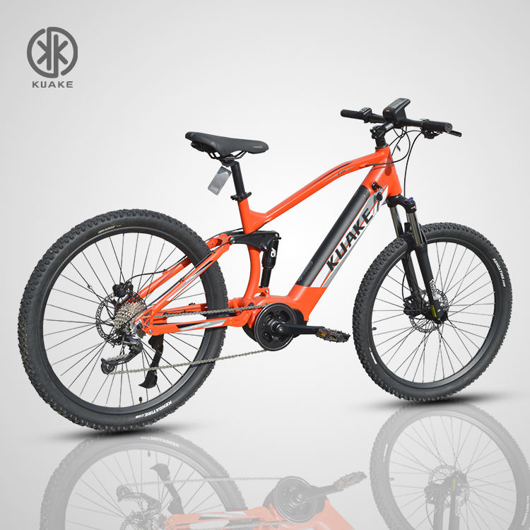 KUAKE manufacturer 27.5 inch 250w bafang mid drive electric road bike full suspension with hidden battery