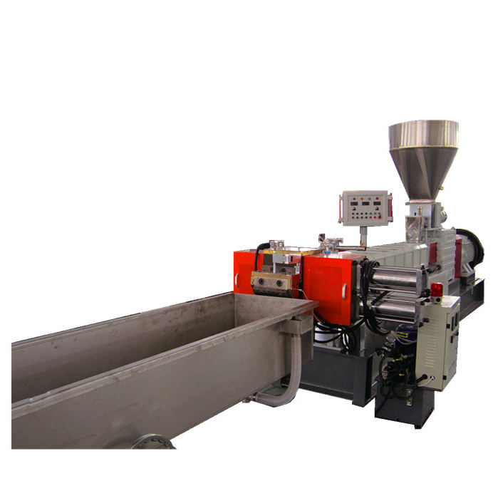 Twin screw extruder for plastic resin pelletizing granules